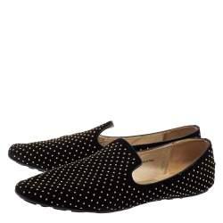 Jimmy Choo Black Studded Suede Wheel Smoking Slippers Size 41