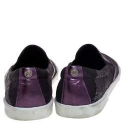 Jimmy Choo Metallic Purple Lace Demi Slip On Sneakers Size 37.5
