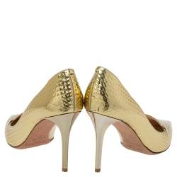Jimmy Choo Gold Leather Pointed Toe Pumps Size 37