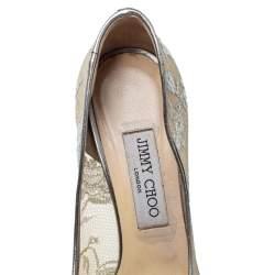 Jimmy Choo Grey Lace Luna Peep Toe Platform Pumps Size 38.5