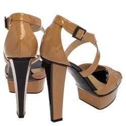 Jimmy Choo Beige Patent Leather Peep Toe Ankle Strap Pump Size 38