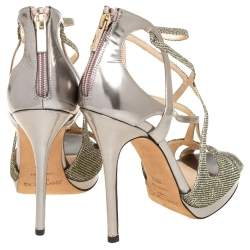 Jimmy Choo Metallic Gold Glitter And Leather Vermeil Strappy Sandals Size 38.5