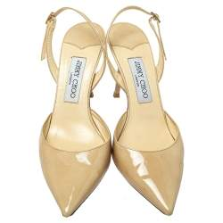 Jimmy Choo Beige Patent Leather Tilly Pointed Toe Slingback Sandals Size 39