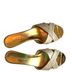 Jimmy Choo Beige Criss Cross Open Toe Cork Wedge Sandals Size EU 40