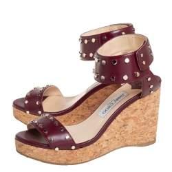 Jimmy Choo Maroon Studded Leather Veto Wedge Platform Sandals Size 39