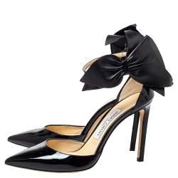 Jimmy Choo Black Patent Leather Kelley Bow Pumps Size 36.5