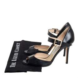Jimmy Choo Black Leather Peep Toe Ankle Strap Sandals Size 37