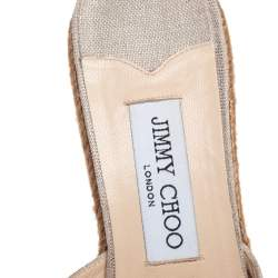Jimmy Choo Beige Canvas Wedge Sandals Size 39.5