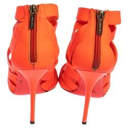 Jimmy Choo Neon Orange Caged Leather 'Dame' Sandals Size 38.5