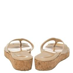 Jimmy Choo Beige Patent Leather 'Pence' Cork Wedge Thong Sandals Size 34.5