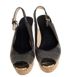Jimmy Choo Black/White Woven Raffia Prova Slingback Wedge Sandals Size 41