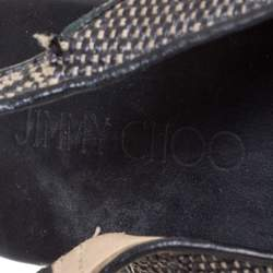 Jimmy Choo Black/White Woven Raffia Prova Slingback Wedge Sandals Size 41