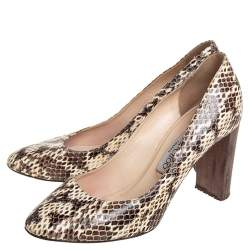 Jimmy Choo Brown/Beige Python Embossed Leather Pumps Size 38.5