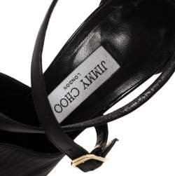 Jimmy Choo Black Leather Ankle Strap Sandals Size 40