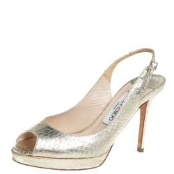 Jimmy Choo Gold Python Embossed Leather Sandals Size 36