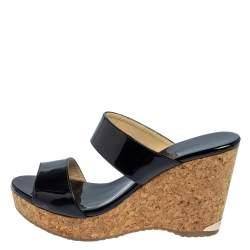 Jimmy Choo Black Patent Leather Cork Parker Wedge Sandals Size 40