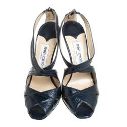 Jimmy Choo Navy Blue Leather And Python Embossed Leather Sandals Size 39