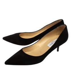 Jimmy Choo Black Suede Anouk Pointed Toe Pumps Size 38.5