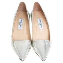 Jimmy Choo Silver Leather Allure Pointed Toe Pumps Size 39