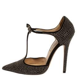 Jimmy Choo Black Studded Suede Talan T-Strap Pointed Toe Pumps Size 38