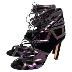 Jimmy Choo Black/Purple Leather And Velvet Denney Lace-up Sandal Size 40