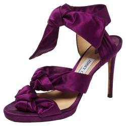 Jimmy Choo Purple Satin Kris Knot Sandals Size 39