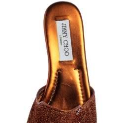 Jimmy Choo Brown Glitter Nanda Slides Flat Size 38