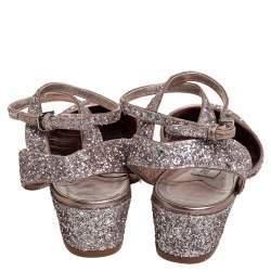 Jimmy Choo Glitter Micky Ankle Strap Sandals Size 39