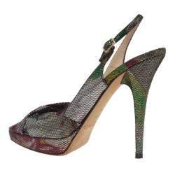 Jimmy Choo Multicolor Glitter Marion Slingback Sandals Size 38