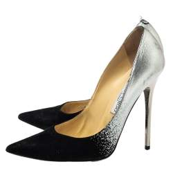 Jimmy Choo Black/Silver Suede And Leather Anouk Pumps Size 38.5
