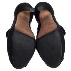 Jimmy Choo Black Suede And Net  Kerfield Peep Toe Platform Booties Size 37