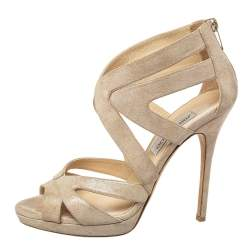Jimmy Choo Metallic Gold Glitter Suede Cutout Collar Peep Toe Sandals Size 39