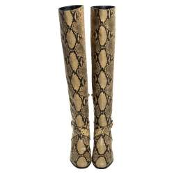 Jimmy Choo Yellow/Black Snake Print Leather Beca Over The Knee Boots Size 38