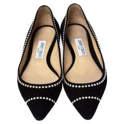 Jimmy Choo Black Suede Romy Flats Size 38.5