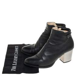 Jimmy Choo Black Leather Zipper Ankle Boots Size 39