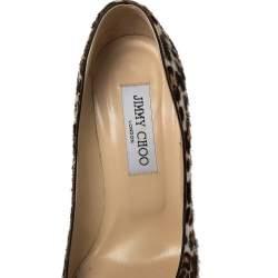Jimmy Choo Brown Leopard Print Calfhair Romy Pumps Size 37