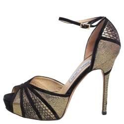 Jimmy Choo Black/Gold Suede And Leather Kalpa Crystal Embellished Ankle Strap Platform Sandals Size 38.5