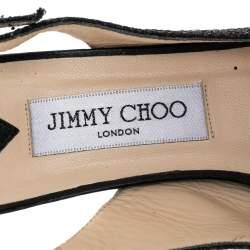 Jimmy Choo Black Glitter And Lurex Fabric Nova Peep Toe Slingback Sandals Size 38