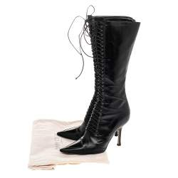 Jimmy Choo Black Leather Lace Up Knee Length Boots Size 37.5