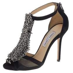 Jimmy Choo Black Suede Feline Embellished T Strap Sandals Size 37