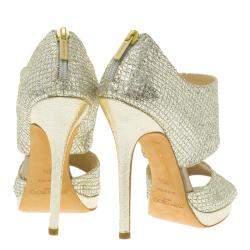 Jimmy Choo Silver Glitter Private Platform Sandals Size 36.5