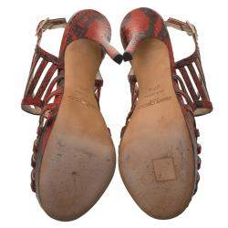 Jimmy Choo Red Python Keenan Python Platform Sandals Size 37.5