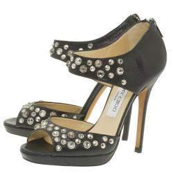 Jimmy Choo Black Studded Leather Bonnie Back Zip Platform Sandals Size 36.5