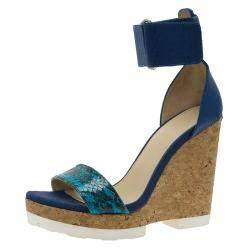 Jimmy Choo Blue Watersnake Leather Neston Ankle Strap Cork Wedge Platform Sandals Size 37.5