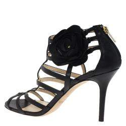 Jimmy Choo Black Leather Opaque Flower Detail Cage Sandals Size 40