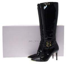 Jimmy Choo Black Patent Leather Sheila Knee Boots Size 40