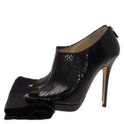 Jimmy Choo Black Python Leather Booties Size 38.5
