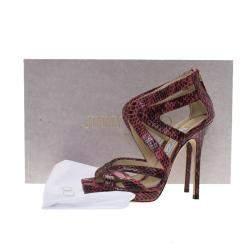 Jimmy Choo Pink Python Collar Platform Sandals Size 36.5
