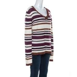 John Galliano Multicolor Striped Crochet knit Sweater L