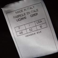 John Galliano Black Silk Ruffle Trim Detail Drawstring Short Dress XL